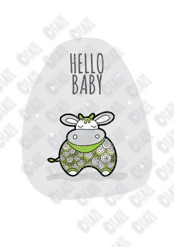 DIY A3-Hello-Baby-Green