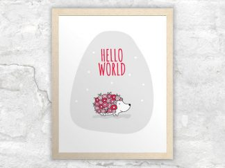 DIY A3-Hello-World-Hedgehog-Red-Frame