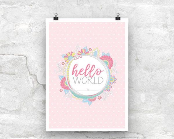 DIY A3-Hello-World-Pink-Poster