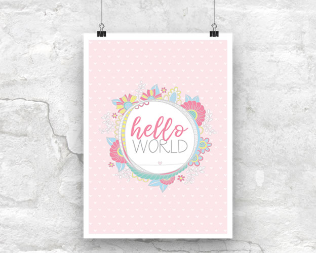 DIY A3-Hello-World-Pink-Poster