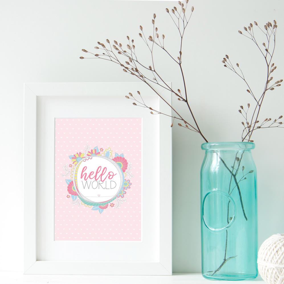 DIY A3-hello-world-pastel-frame