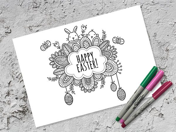 DIY Happy Easter Colouring Page