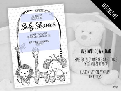 DIY Baby Shower A5 BW Editable