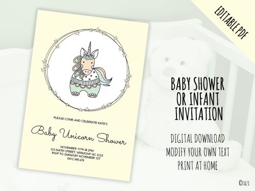 DIY Baby Shower A5 Unicorn