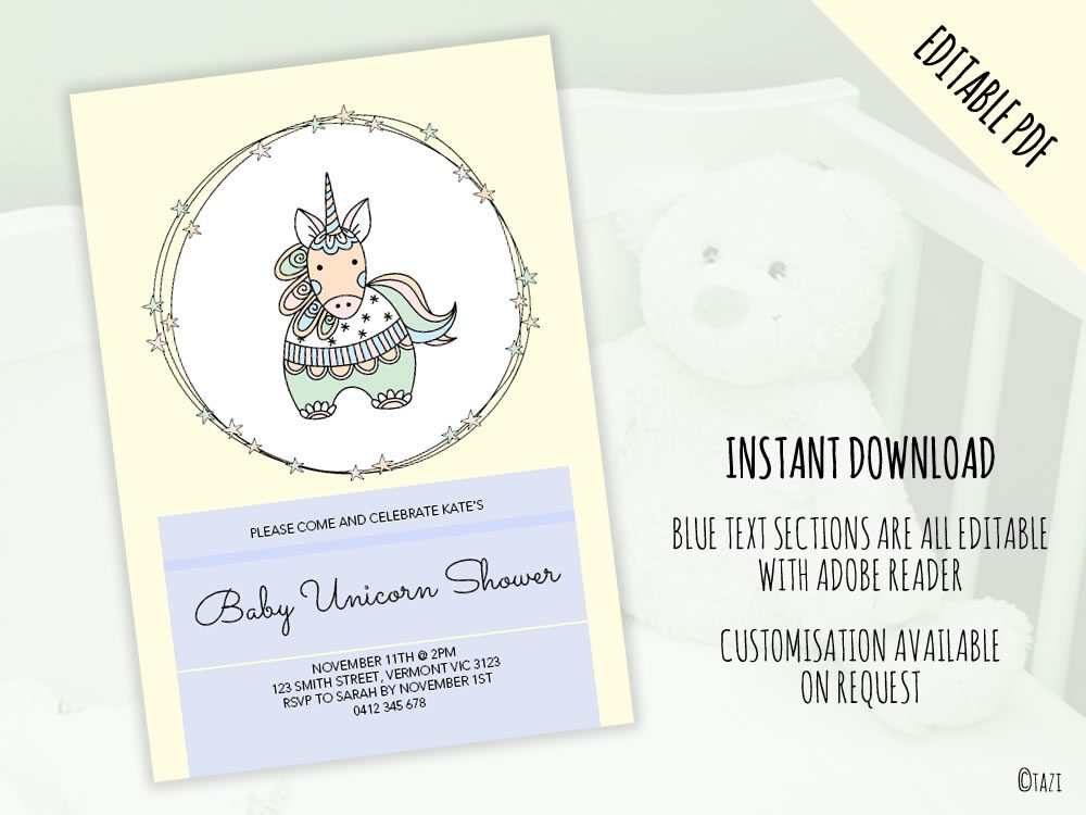 DIY Baby Shower A5 Unicorn editable