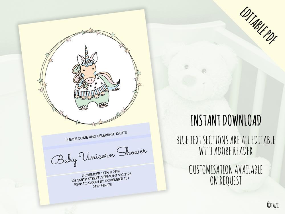 DIY Baby Shower A5 Unicorn editable