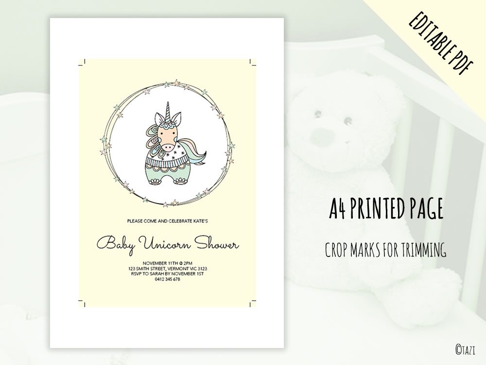 DIY Baby Shower A5 Unicorn print