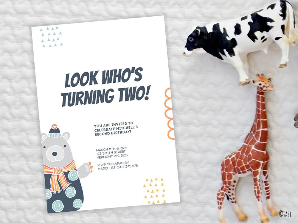 DIY Bear-baby-invitation