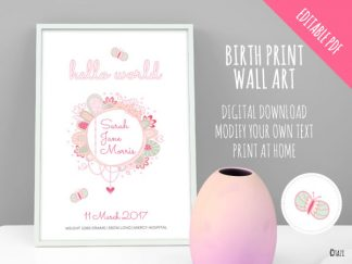 DIY Invitations Birth Print Hello World