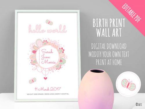 DIY Invitations Birth Print Hello World