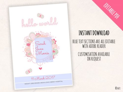 DIY Invitations Birth Print Hello World Edit