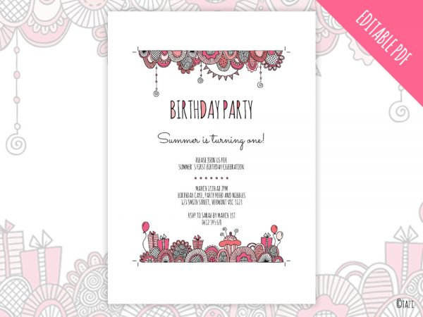 DIY Birthday-pink-invitation