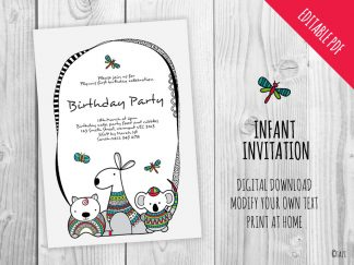 DIY-Infant-A5-Invitation-aussie-animals-hero
