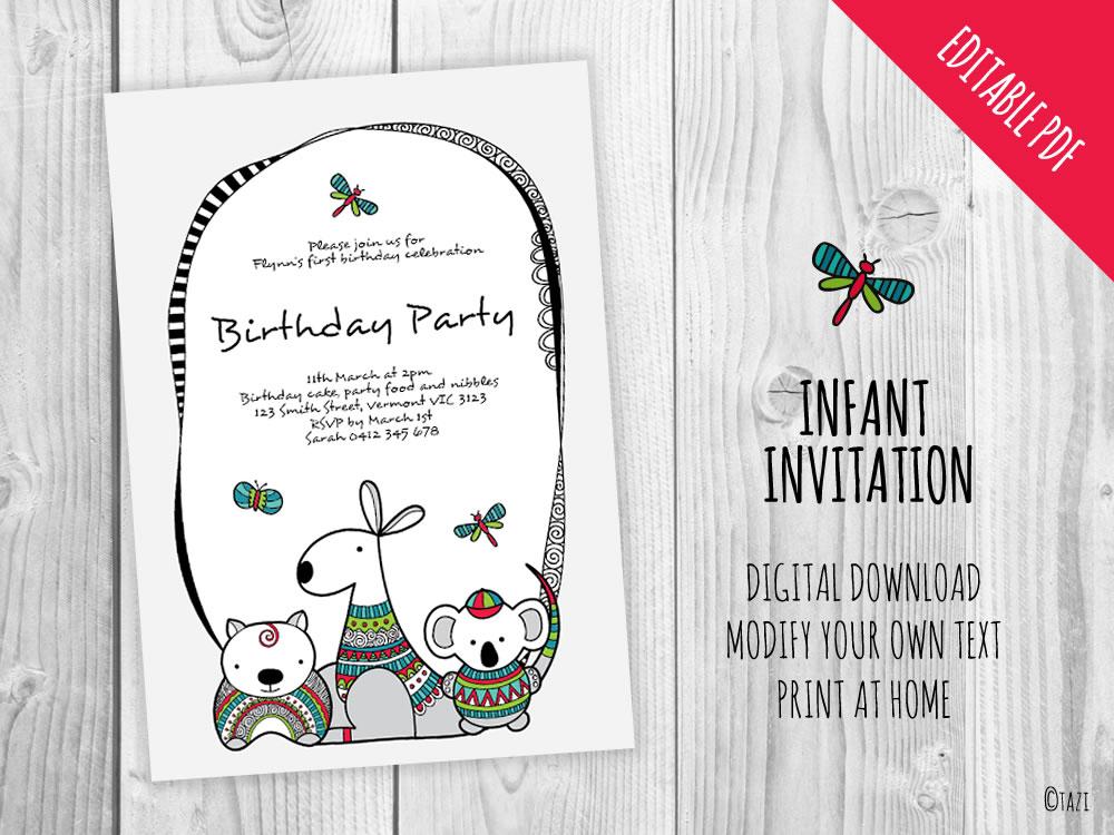 DIY-Infant-A5-Invitation-aussie-animals-hero