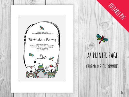 DIY-Infant-A5-Invitation-aussie-animals-print