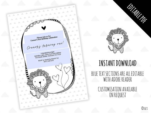 DIY Infant Lion Invitation Editable