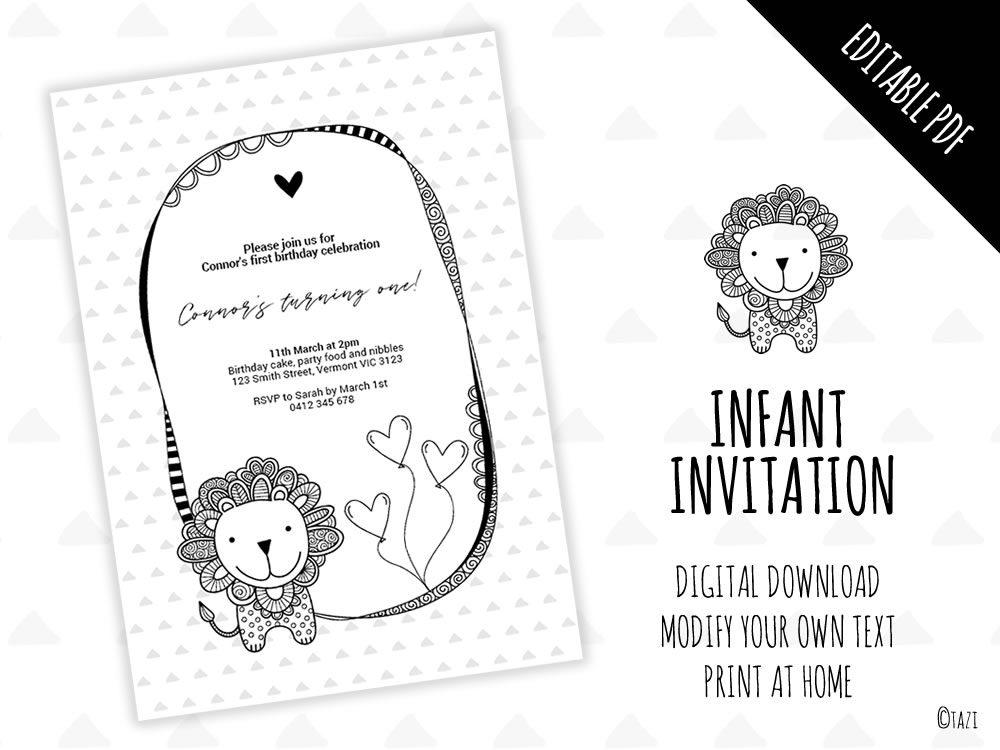 DIY Infant Lion Invitation