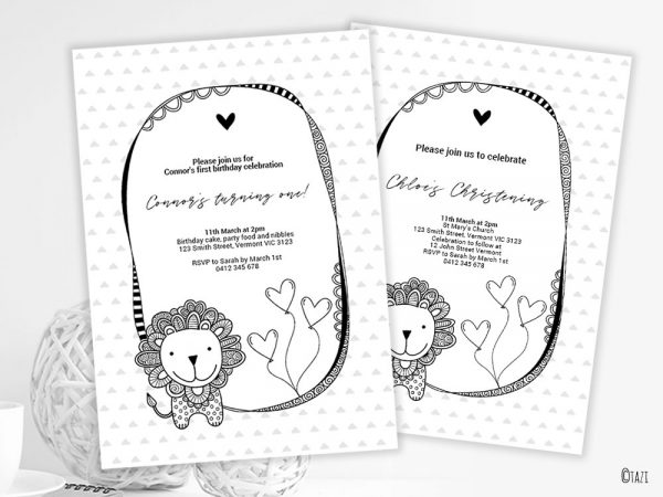 DIY Infant-Lion-invitation