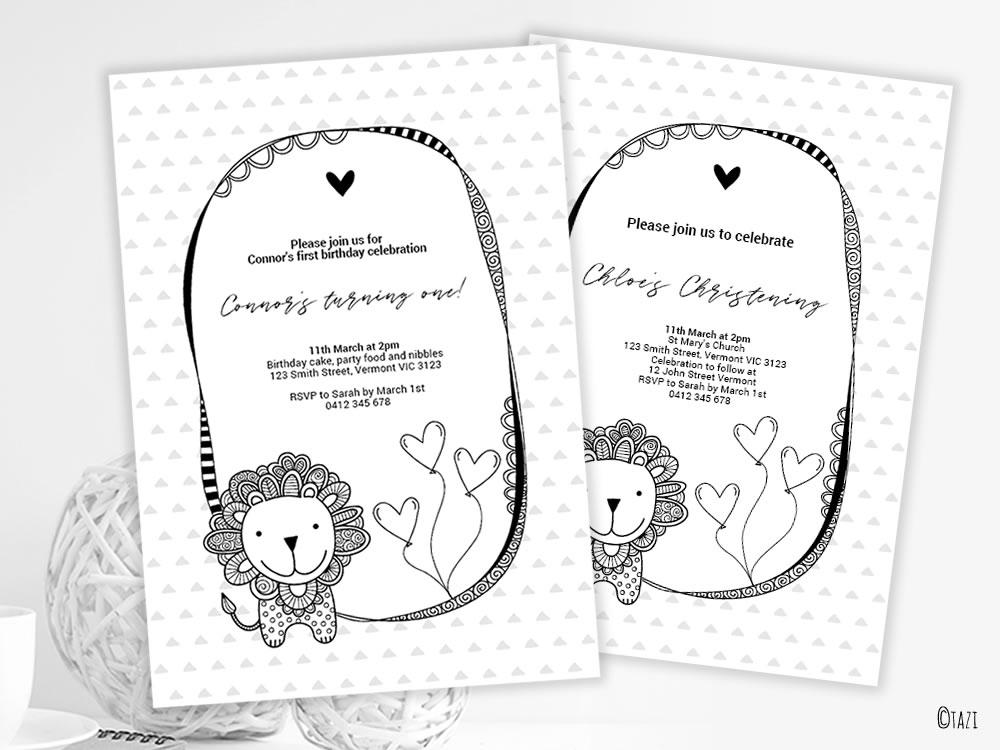 DIY Infant-Lion-invitation