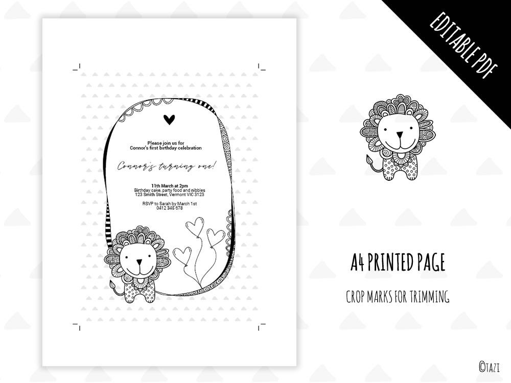 DIY Infant Lion Invitation Print