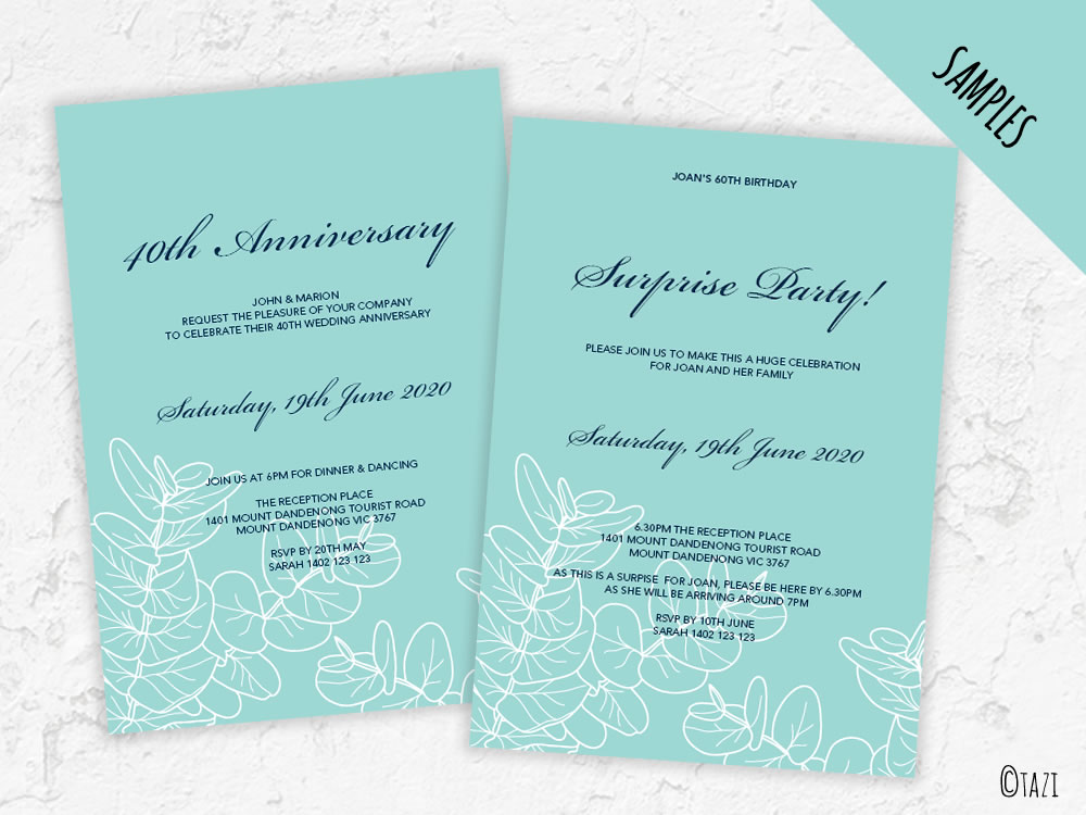 Editable gum leaf wedding engagement birthday or anniversary diy invite samples leaves green solutioingenieria Gallery