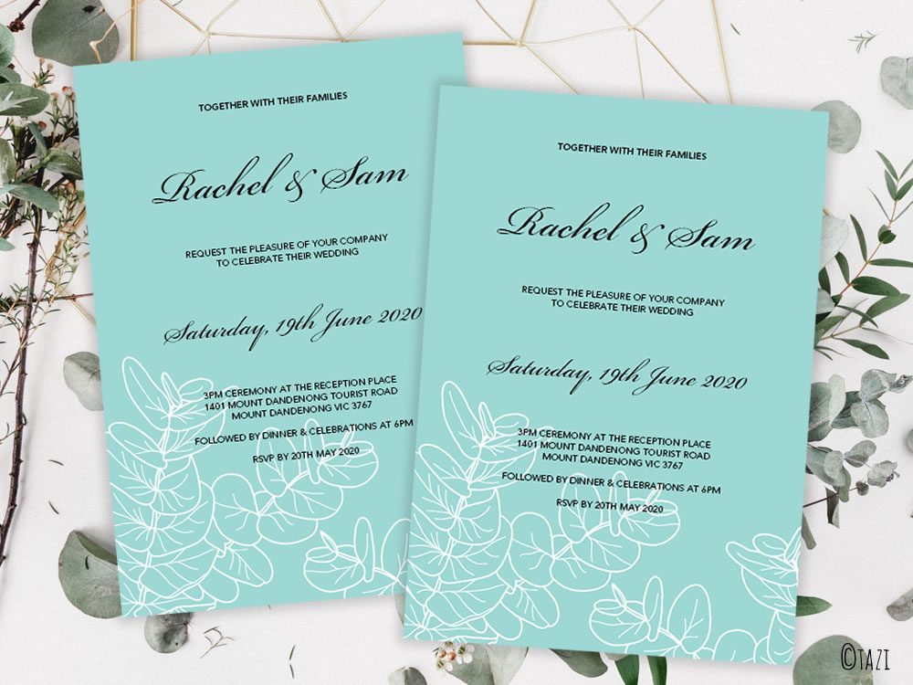 DIY Leaves Green Invitation