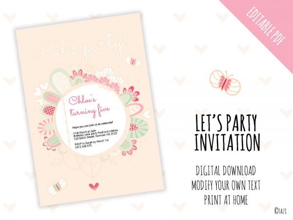 Let's Party Invite Pink