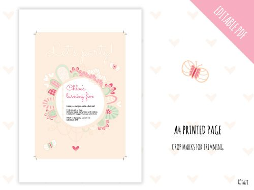Let's Party Invite Pink Print