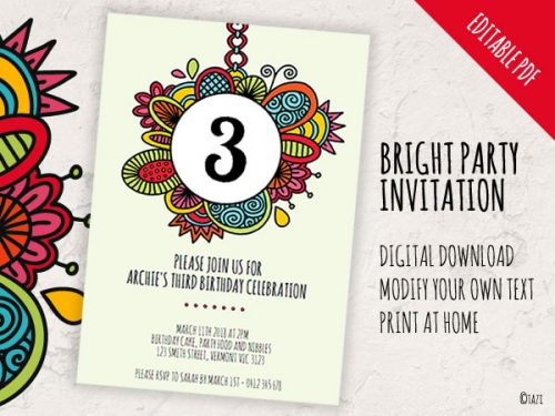 DIY Party Invitation Bright