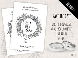 DIY Save Date BW Circle