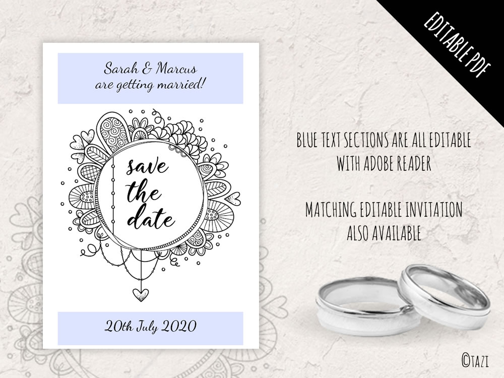 DIY Save Date BW Circle Editable