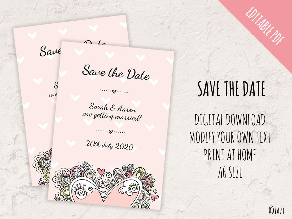 EDITABLE Save the Date with Doodle Heart | DIY Invitations & Printables