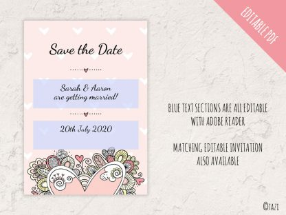 DIY Save Date Heart Editable