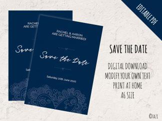 DIY Save Date Heart Navy