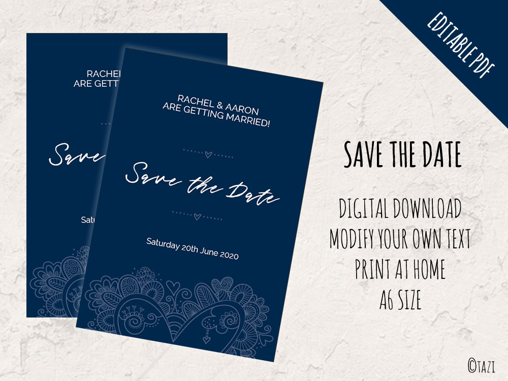 EDITABLE Save The Date With Navy Doodle Heart DIY Invitations - Design your own save the date template