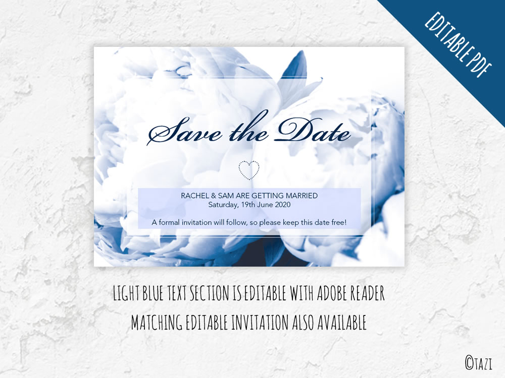 EDITABLE Save The Date With Navy Peony DIY Invitations Graphics - Free customizable save the date templates