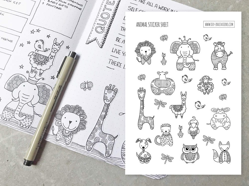 DIY Stickers-Animal-Journal