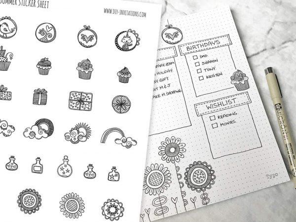 DIY Stickers-Birthday-Journal