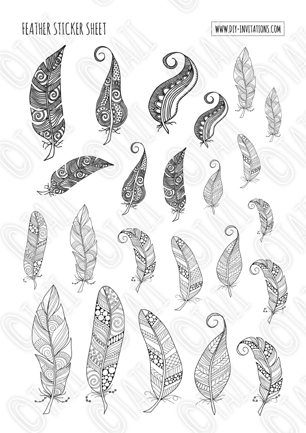 DIY Stickers-Feathers-Watermark