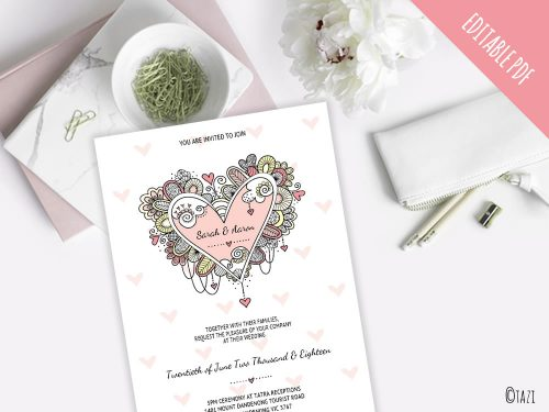 DIY Invitations Heart Wedding