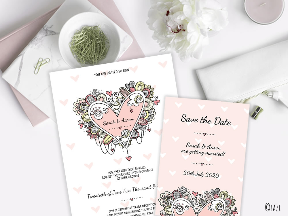 EDITABLE Wedding or Engagement Invitation with Doodle Heart | DIY ...