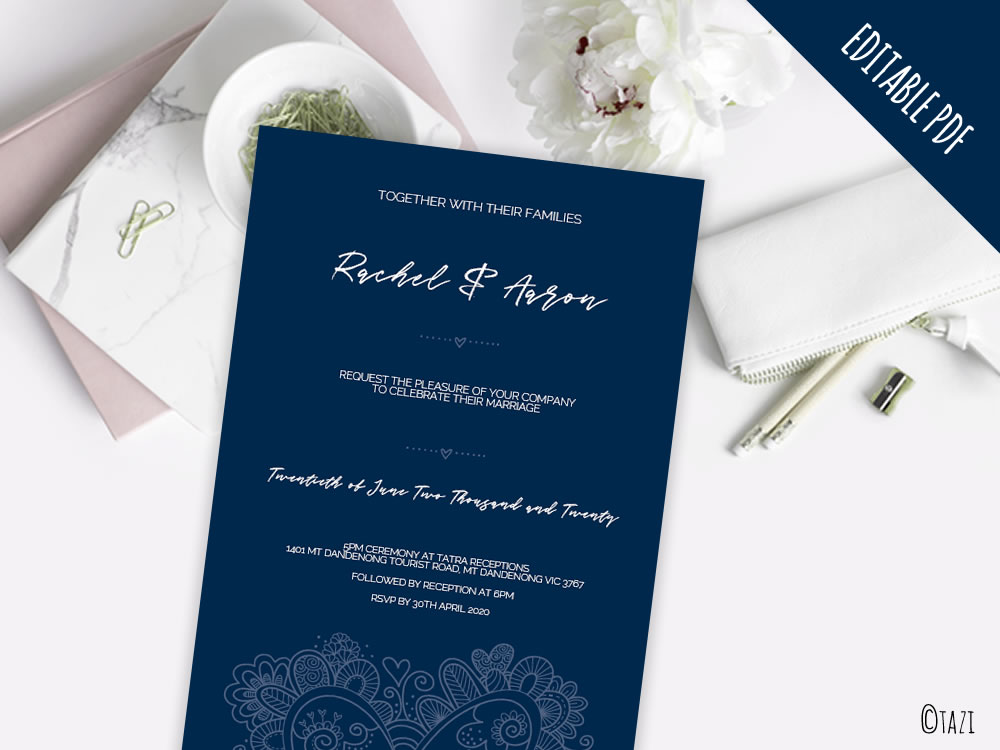 Editable navy heart wedding engagement anniversary birthday diy wedding heart navy mockup stopboris Image collections