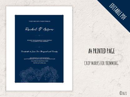 DIY Wedding Heart Navy Print