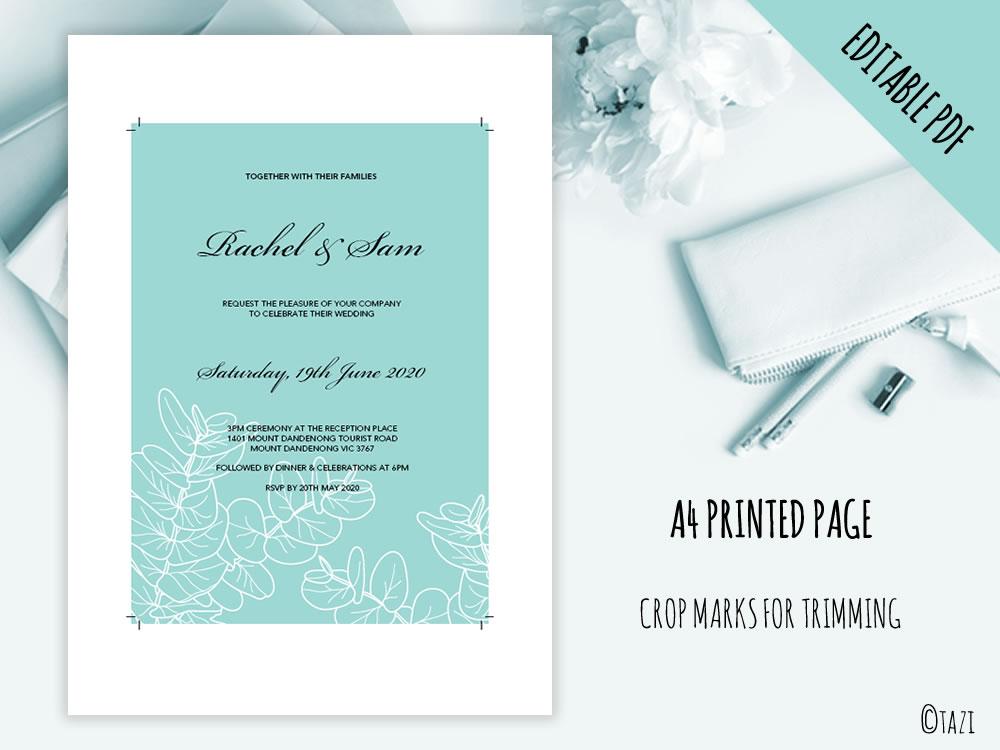 Editable gum leaf wedding engagement birthday or anniversary diy wedding leaves green print solutioingenieria Gallery
