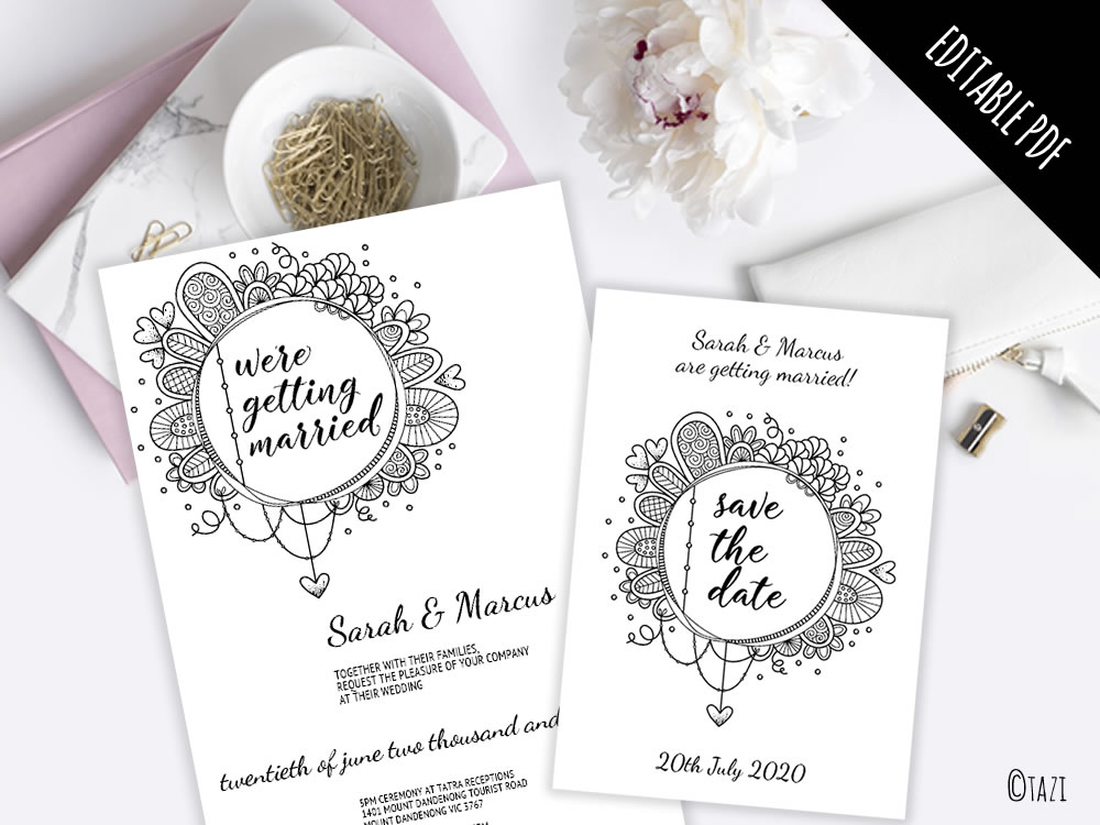 EDITABLE Wedding Invitation with Black & White Doodle | DIY ...