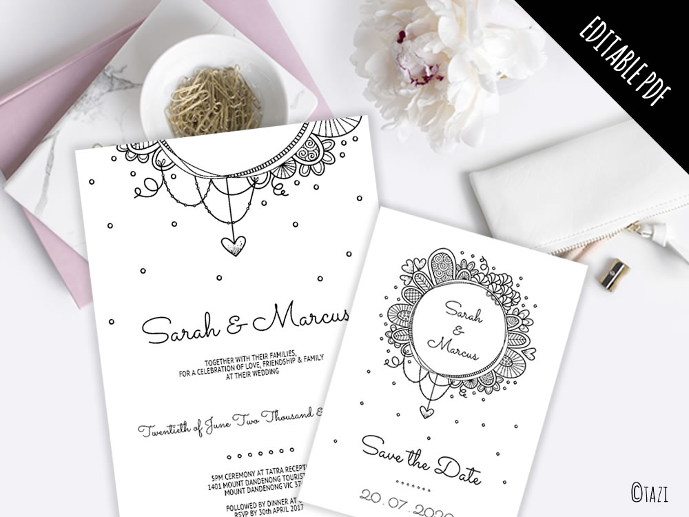 EDITABLE Save the Date with Black & White Doodle and Glamourous Font ...