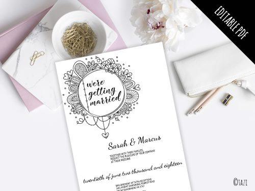 DIY Invitations Wedding Circle Doodle