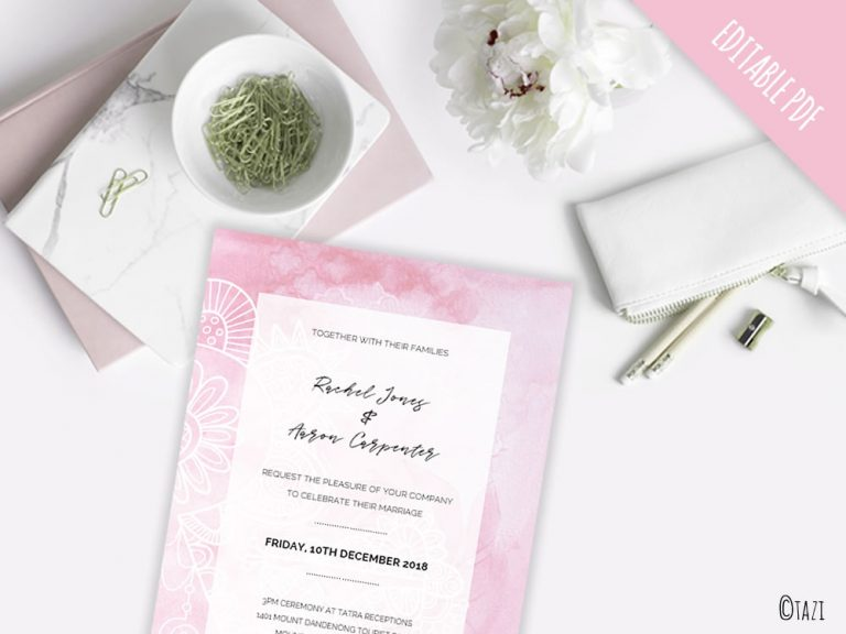 DIY Wedding pink mockup