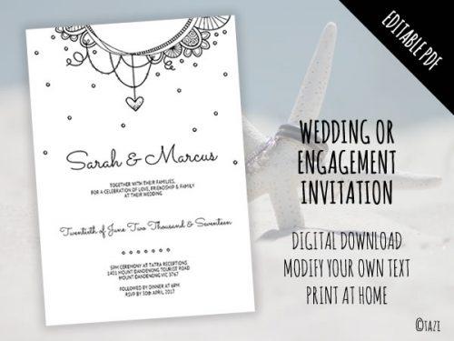 DIY Wedding Invitation B&W