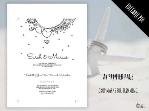 DIY Wedding Invitation B&W